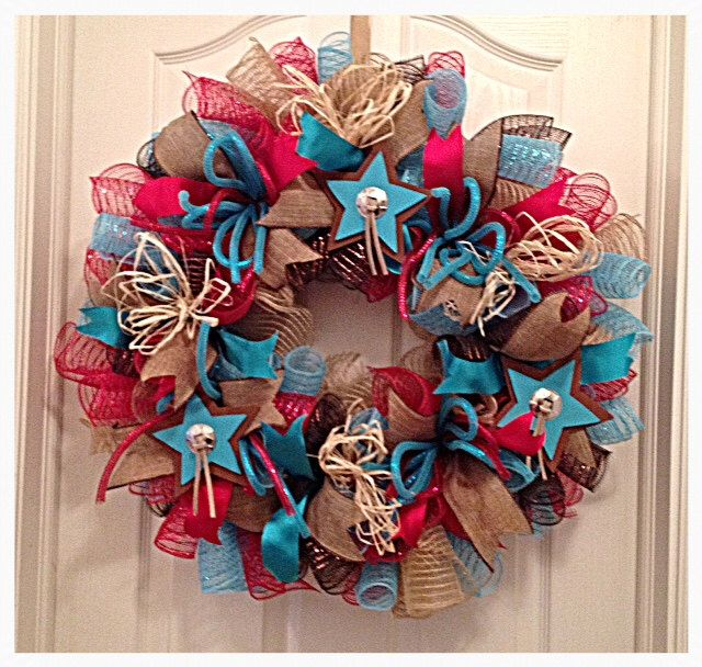 Southwestern Star Turquoise and Red Deco Mesh Wreath/Turquoise and Red Wreath/Cowboy Wreath/Cowgirl Wreath/Burlap Turquoise  Red Wreath by CKDazzlingDesign on Etsy https://www.etsy.com/listing/204760619/southwestern-star-turquoise-and-red-deco