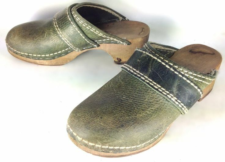 Women's Vintage Green Leather Slip On Mule Clog w/ Strap & Hand Carved Wood  Sz