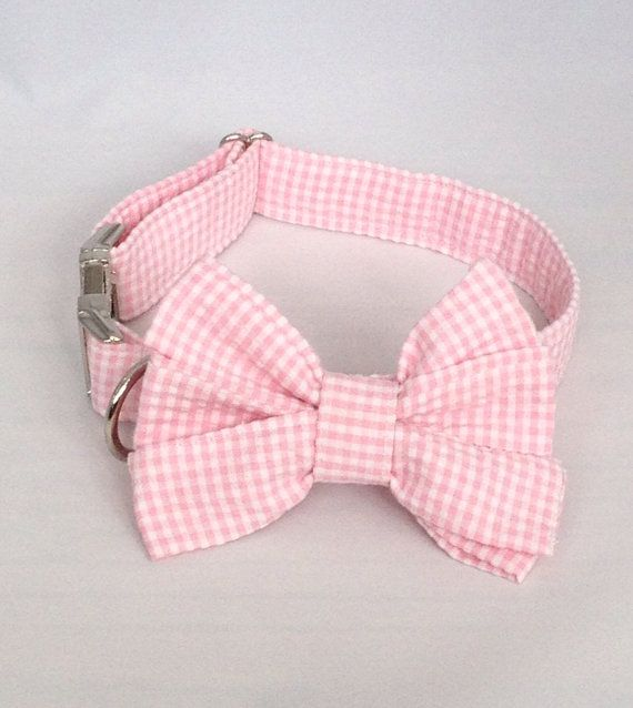 Preppy Pink Gingham Girl Bow Tie Dog Collar, Check Girl Bowtie Dog Collar, Custom Dog Collar, Preppy Dog Collar, Pink Dog Collar,