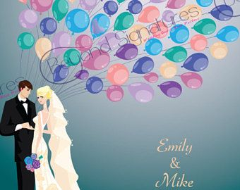 Wedding Balloon Wedding Guestbook alternative, digital custom posters