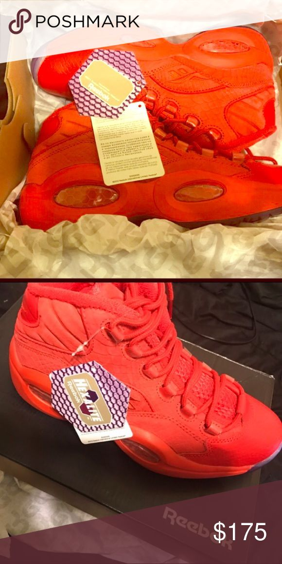 Red October Questions Brand new with original tags and box. 20th Anniversary Reebok Allen Iverson - Questions. Teyana Taylor collaboration. Red body, blue bottoms. Reebok Shoes Sneakers