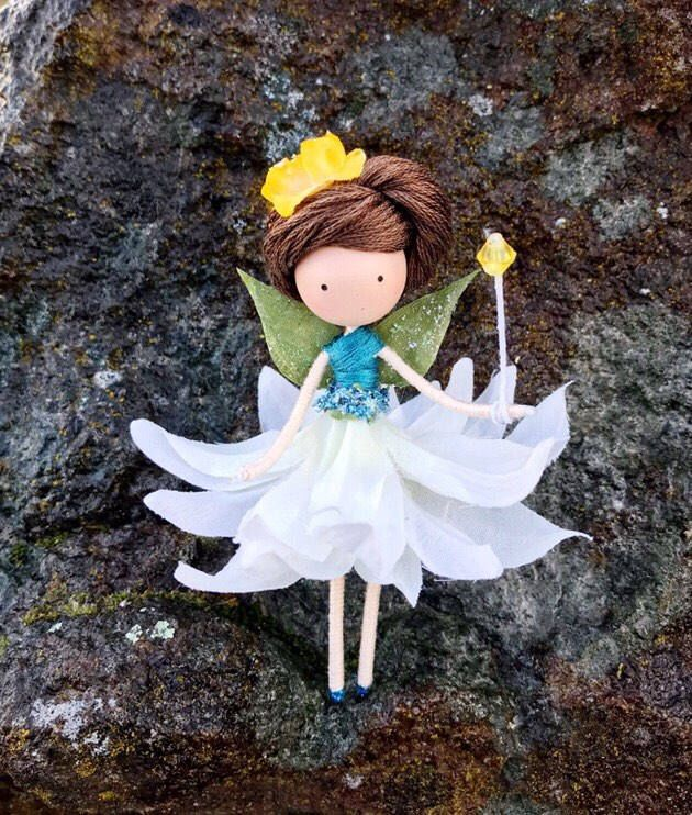 Excited to share the latest addition to my #etsy shop: Blue Gold Flower Fairy Doll, Bendy Fairy Doll, Miniature Rag Doll, Fairy Gift Ideas, Nature Lover Gifts, Enchanted Forest, Ballerina Doll