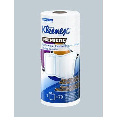 Kleenex Premiere Kitchen Roll Towels in White by Kimberly-Clark. $60.84. Includes 24 rolls of paper towels.. 13964 Features: -Kitchen roll towels.-Strong and absorbent kitchen roll towels.-Cloth-like towel tough for scrubbing and soft for hand drying.-Absorbent.-Now with a softer feel.-70 Sheets per roll. Color/Finish: -Color: White. Dimensions: -Dimensions: 11'' W x 10.4'' D.. Save 43% Off!