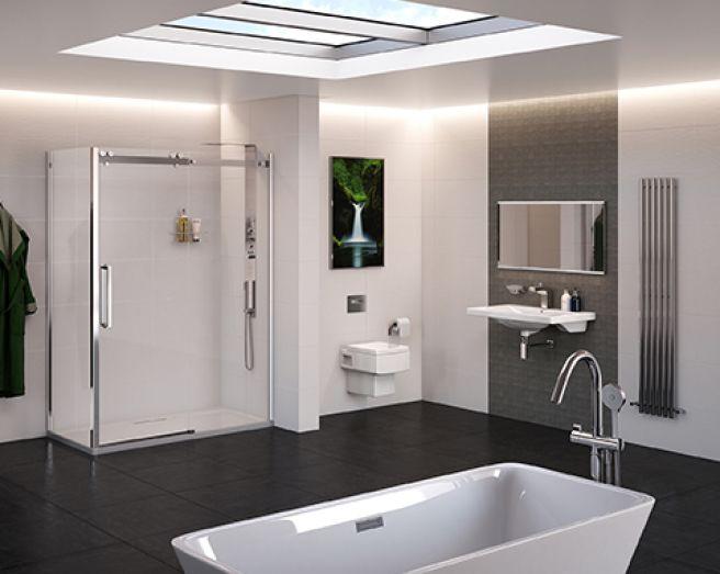 Photo Of Contemporary Minimalistic Modern Stylish Grey White Square Better  Bathrooms Bathroom With Basin Freestanding Bath