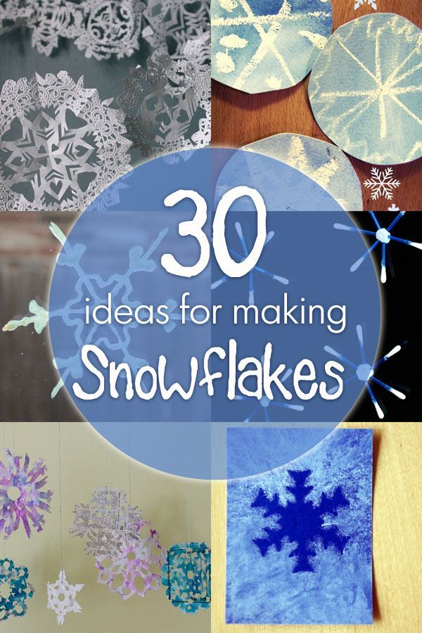 30 ideas to make a snowflake, 12 ideas for materials to cut snowflakes out of plus 18 snowflake craft ideas and art projects!