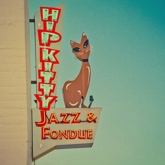 Hip Kitty Jazz and Fondue Club - Mid Century Modern Decor - Neon Sign - Red and Teal Art - Retro Wall Art - Kitty Cat - Fine Art Photography
