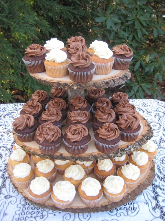 Cupcake Stand Rustic Wedding Wood Dessert Bar 3 Tier Large Size