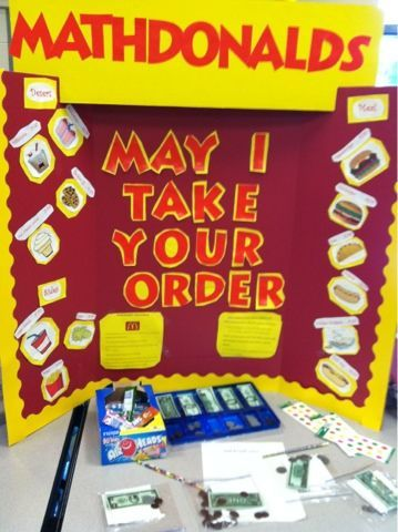 "Creative Math Games! ""MathDonalds"" for money unit! Kids would love to take orders and make change!"
