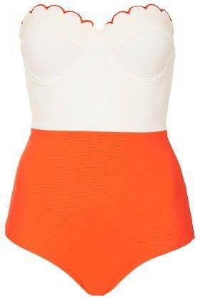orange scallop top one piece bathing suit