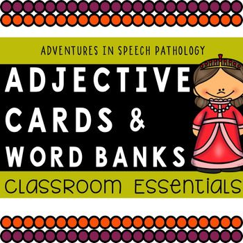 These classroom essentials contain 120 different adjective cards from 10 different adjective categories plus word banks listing tons of different adjectives for each category. This is one adjective set with endless possibilities for teaching  you are not bound by one game only own your teaching style with these flexible supports!