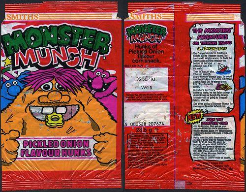UK - Smiths - Monster Munch - Pickled Onion Flavour Hunks - Monster Club - crisp package - 1992