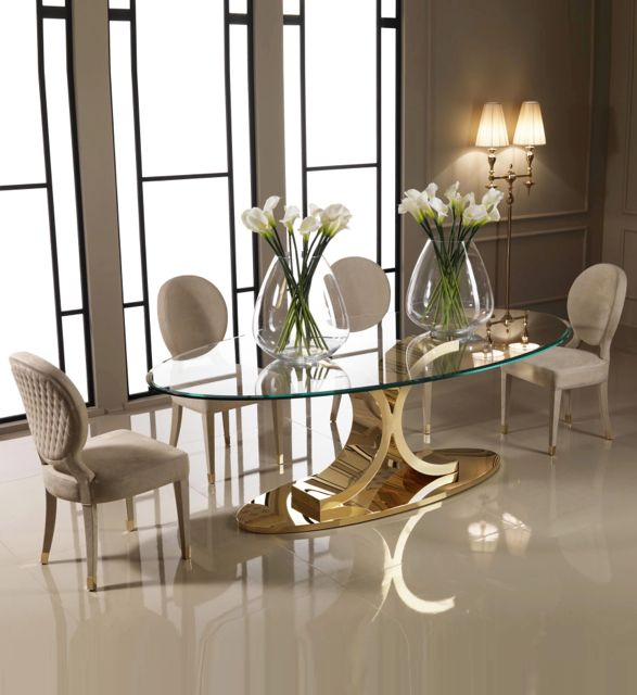£11,793.60 Designer 24 carat gold oval glass dining set | Luxurious and made to measure by Juliettes Interiors - Glamorous London showroom