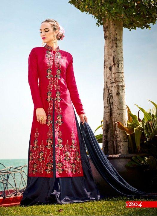 Magenta & Dark  Blue Banarasi Silk Embroidered Designer Indo Western Suit