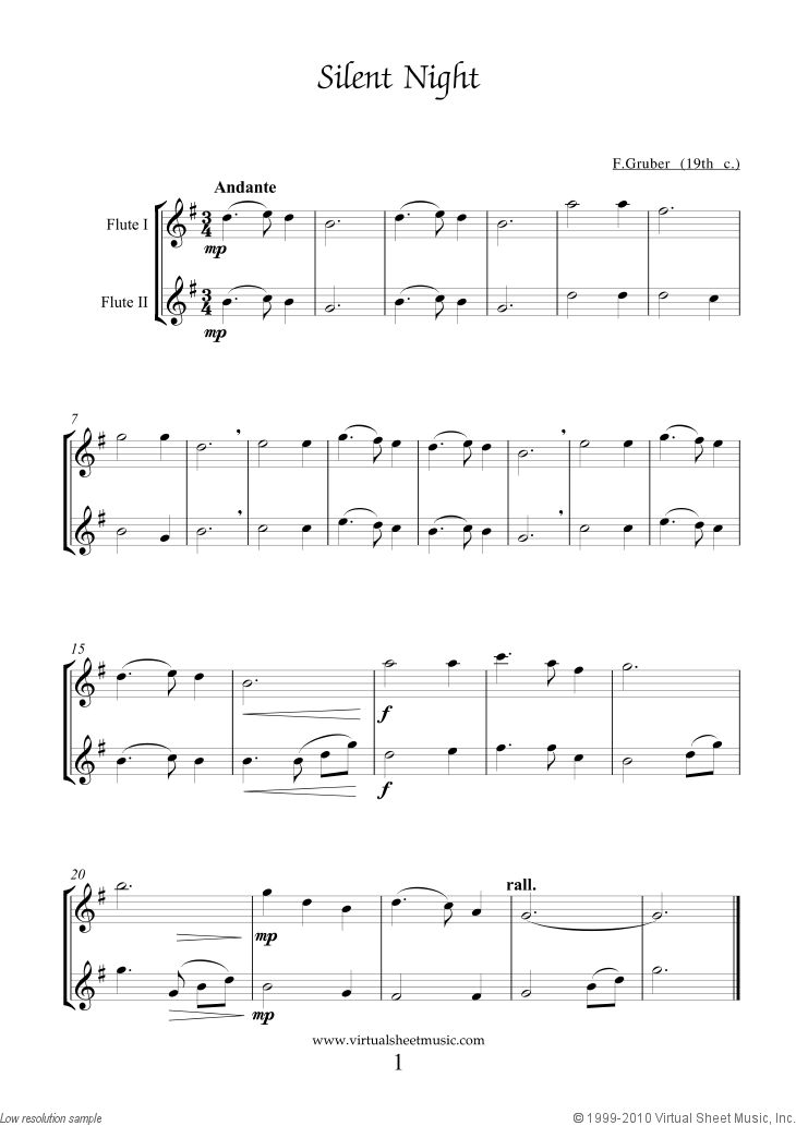 Silent Night sheet music for two flutes by Gruber