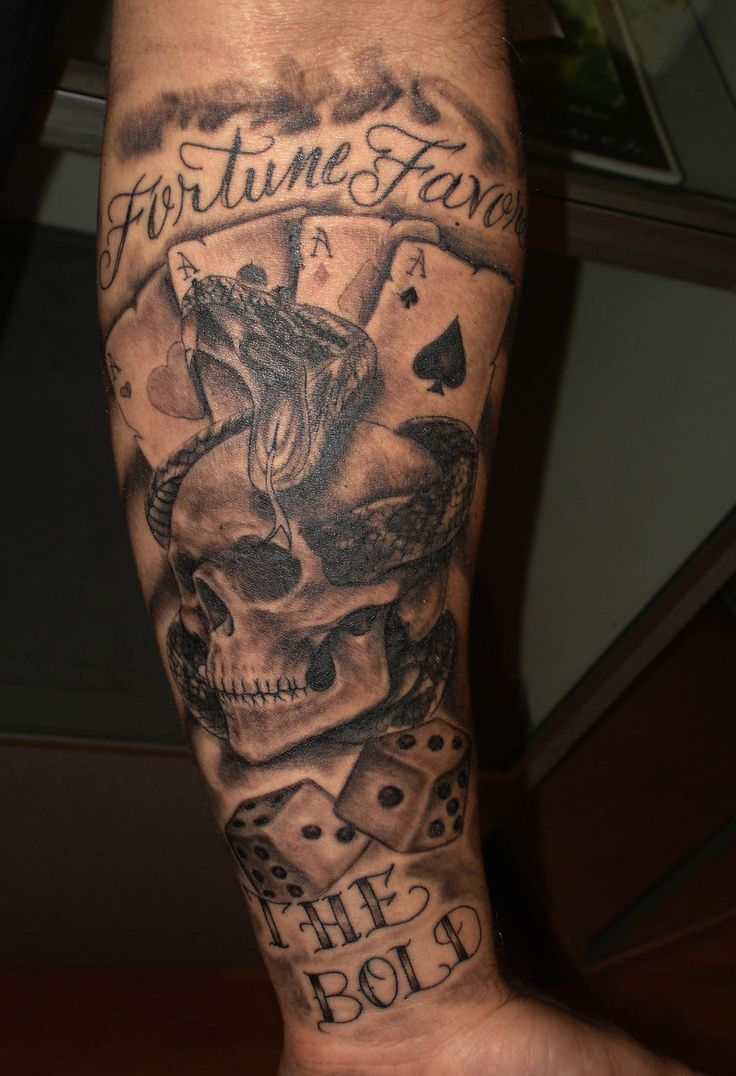 Skull dice and cards tattoo