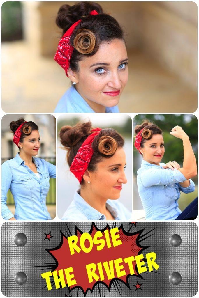 Rosie the Riveter Hairstyle Tutorial...So easy and so cute! #halloween #halloweenhairstyles #hairstyles #hairstyle #halloweenhair #CGHrosietheriveter