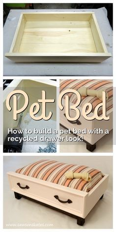 "Love those ideas for recycled drawers into pet beds? Check out this dog bed DIY plan that shows how to build a ""drawer"" using new wood with an upcycled look! The tutorial is easy to follow and it's simple to make. The bed is actually an inexpensive standard size bed pillow!"