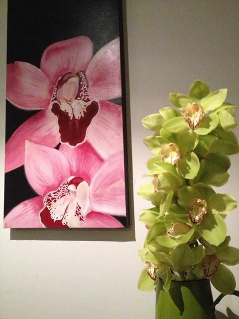 Orchid painting hanging in a very talented florists home #artsbyjaime