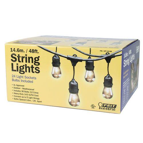 Feit String Lights Ideas : Feit Outdoor Weatherproof String Light Set, 48 ft, 24 Light Sockets, Includes 36 Bulbs Yard ...