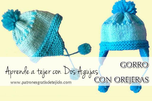CURSO DE TEJIDO DOS AGUJAS: Cómo tejer Gorro de niño con orejeras