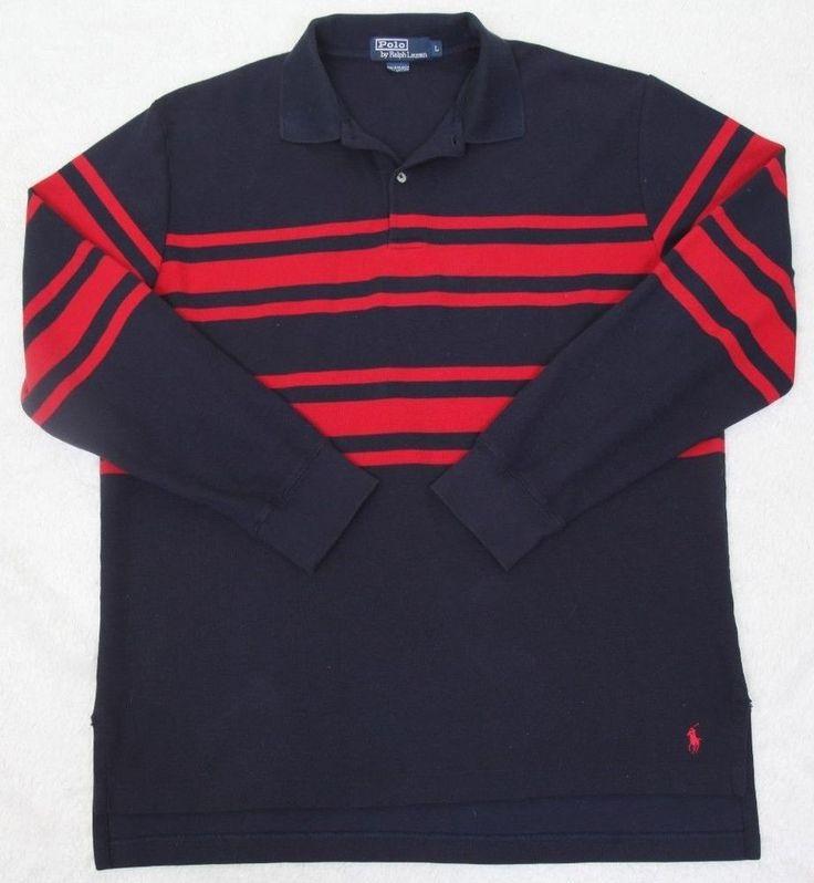 Ralph Lauren Polo Shirt Navy Blue & Red Long Sleeve Cotton Large Mens Choice Man #RalphLauren #PoloRugby