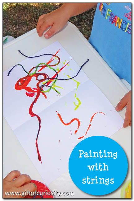 Painting with strings - a simple and unique way for kids to create beautiful artwork #artforkids    Gift of Curiosity