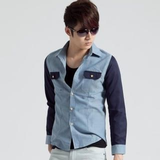 Long-Sleeve Color-Block Shirt from #YesStyle <3 K-Style YesStyle.com.au