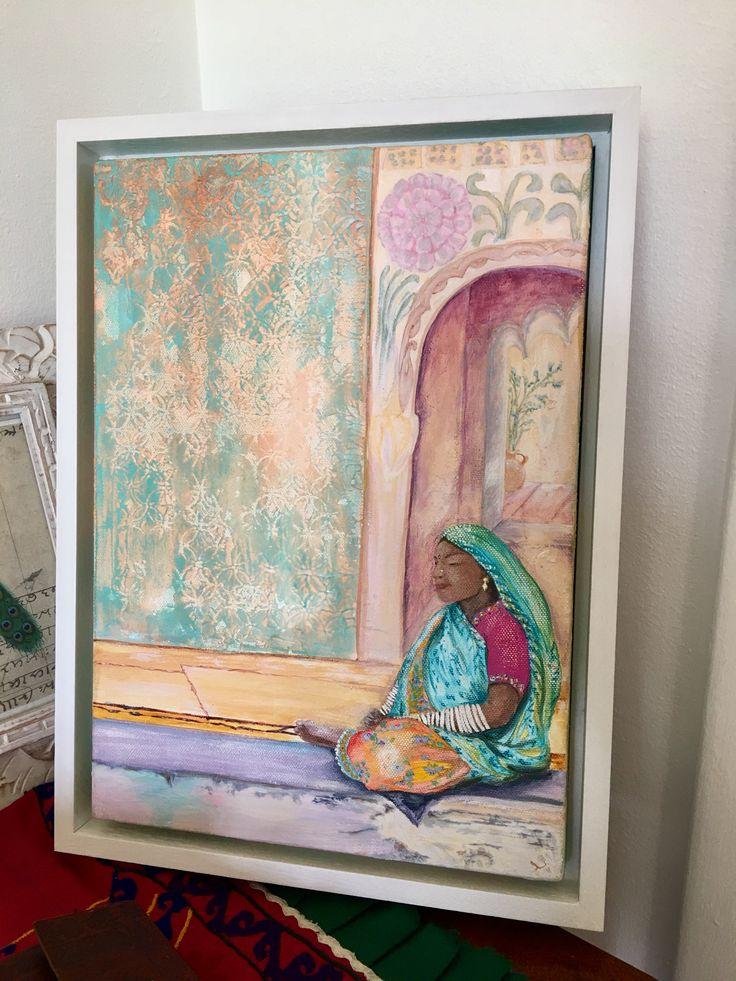 'Jodhpur 'woman acrylic- framed canvas
