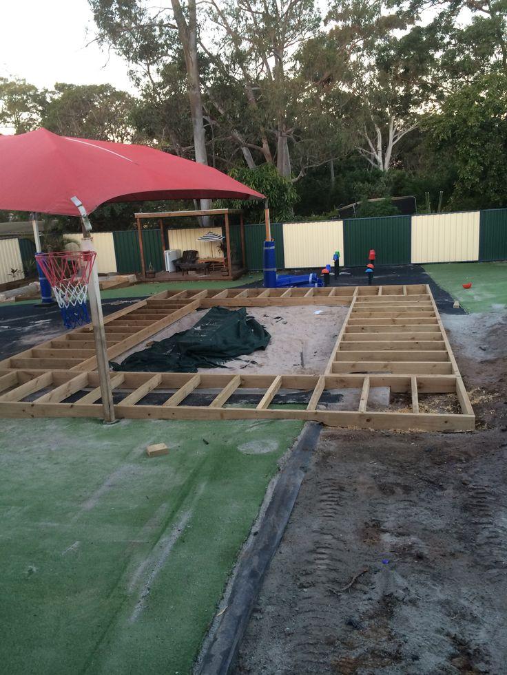 Senior yard upgrade sandpit deck