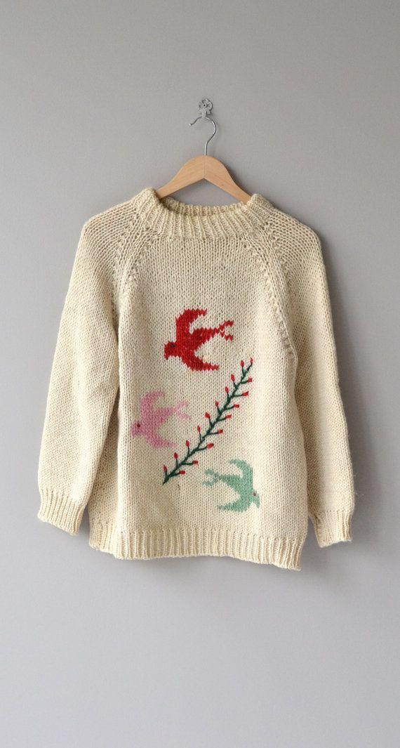 Winged Migration sweater vintage 1960s wool sweater by DearGolden