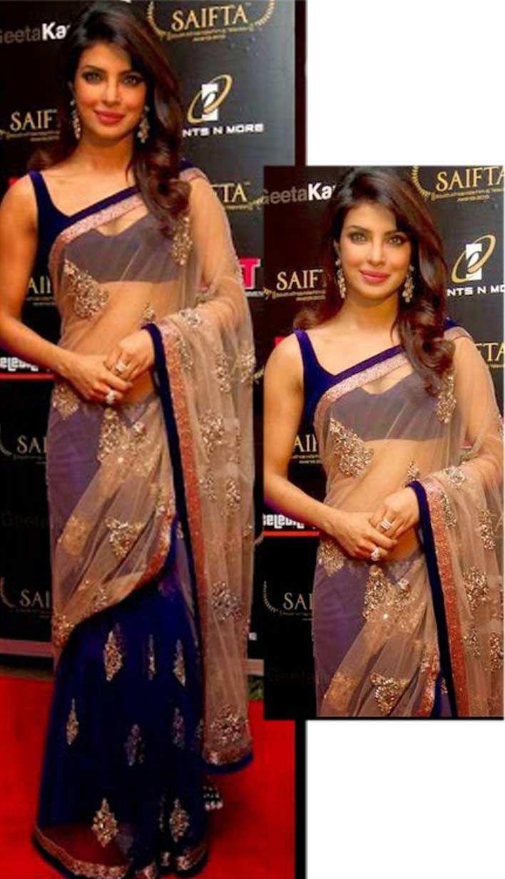 Buy Latest Fashionable Indian Navy Blue Net Satin Designer Saree  #DesignerSaree Link- http://alturl.com/sfvtc