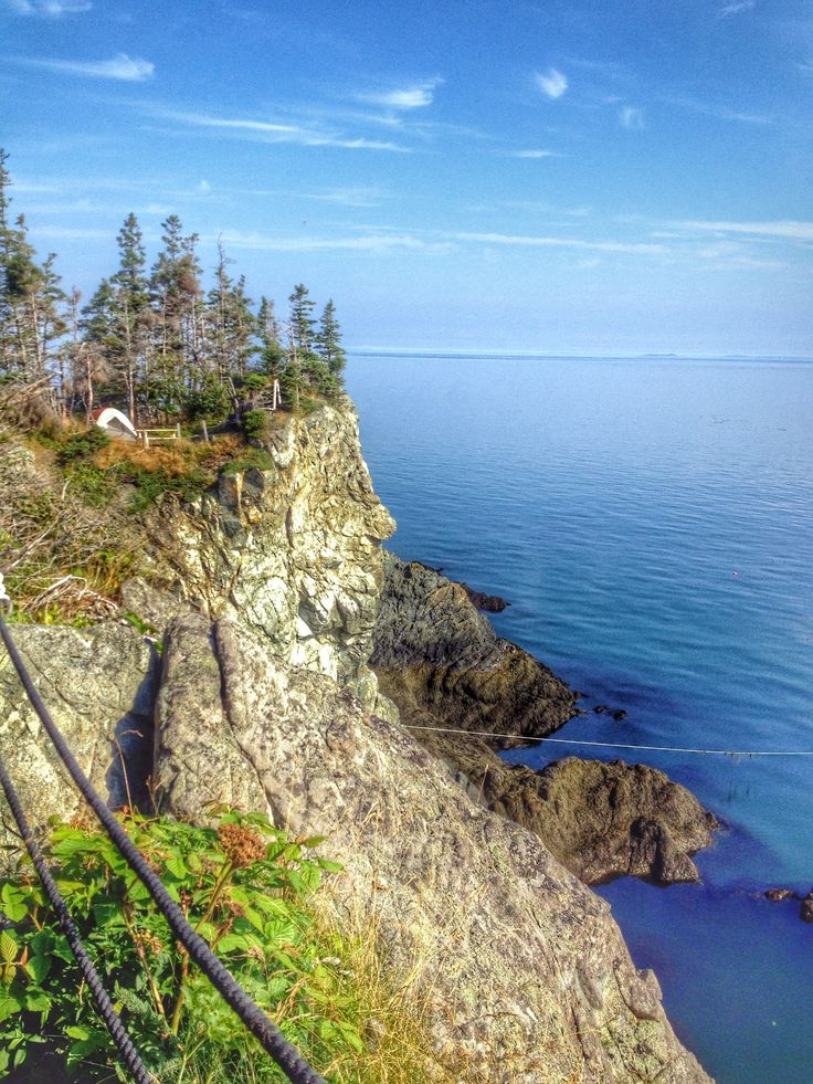 Tents on cliffs.  Camping on Grand Manan Island