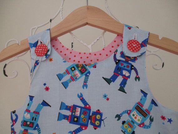 Reversible Dress girls pinafore red robot blue cord by beadiesbyjo
