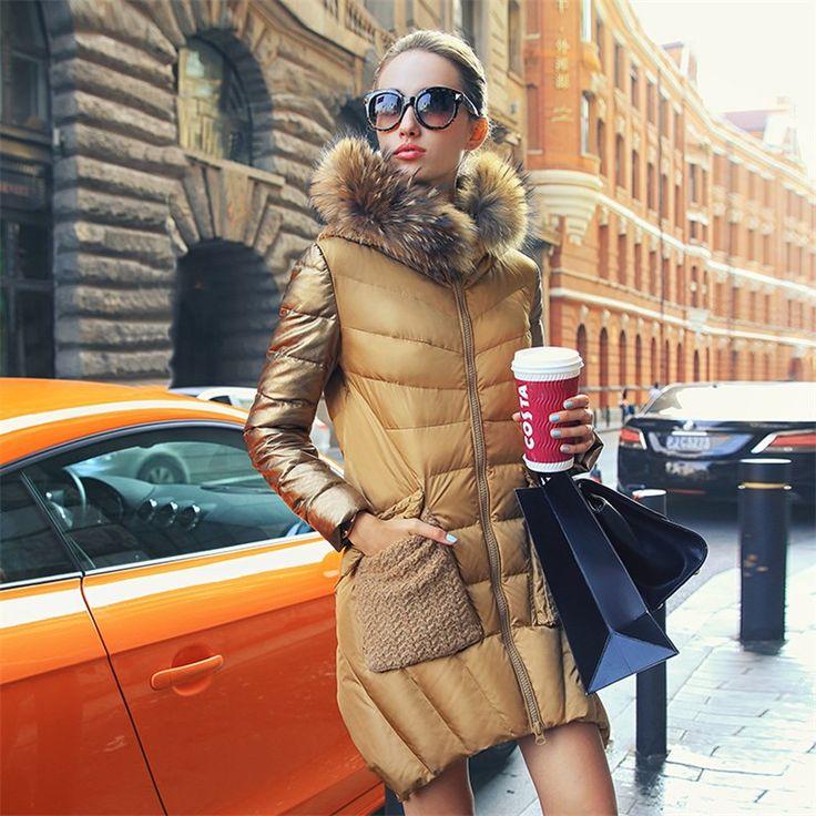 women's 2014 winter luxury gold Raccoon fur collar medium-long women down jacket coat female slim outerwear women parka coat