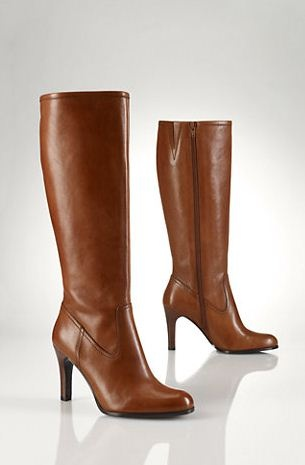 high heeled leather boots...