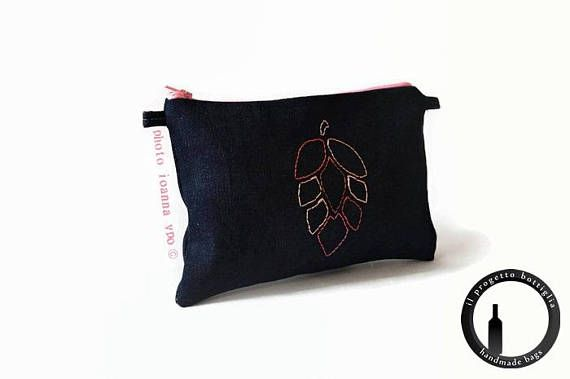 Embroidery small bag-Denim clutch bag-Beer nerd-Beer fest