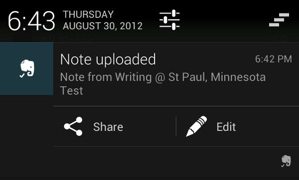 Evernote shortcuts in Jelly Bean notifications :)