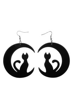 Erstwilder Cat And The Moon Earrings