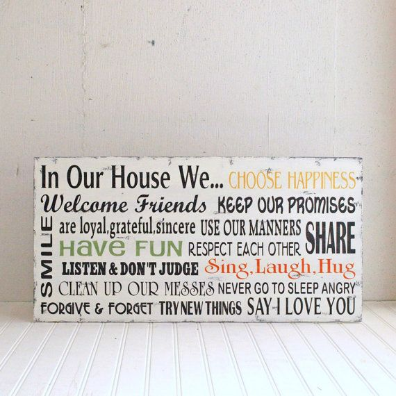 In Our House We Family Rules Wood Sign by SignsofVintage on Etsy, $100.00