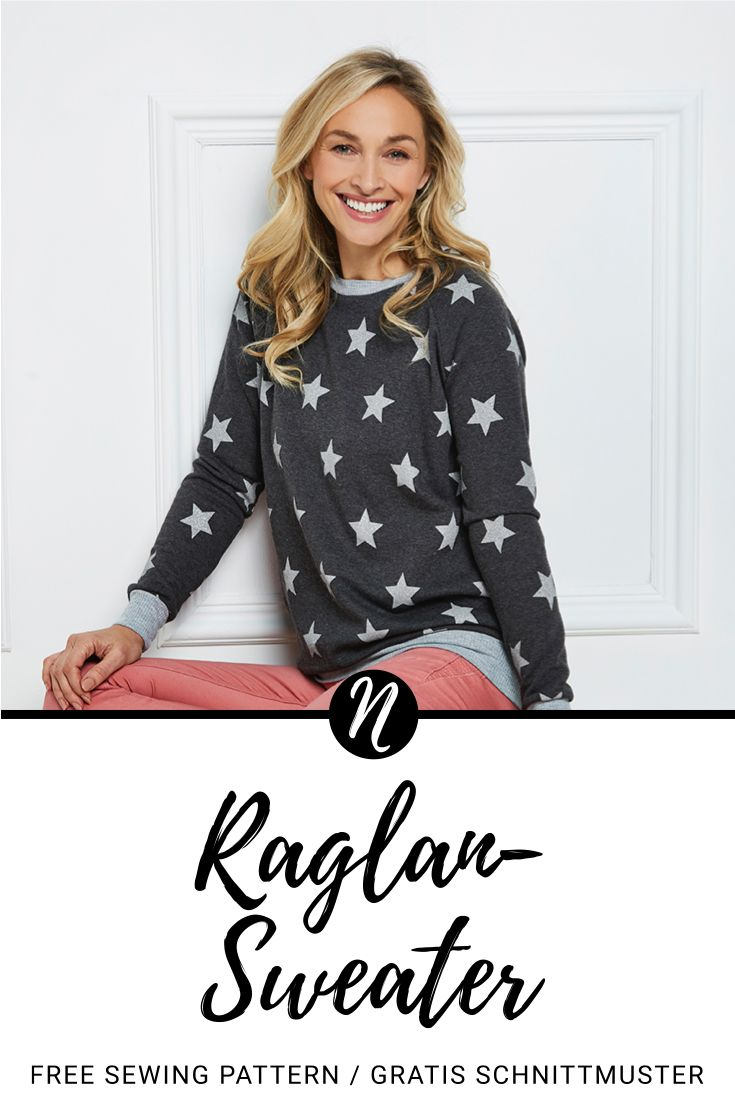 Raglan-Sweater für Damen - Kostenloses Schnittmuster in Gr. 36 - 48. PDF-Schnittmuster zum Drucken. ✂️ Nähtalente - Das Magazin für Hobbyschneider/innen ✂️ Raglan-Sweater for woman - Free sewing pattern in size 8 - 20. PDF pattern for print at home.