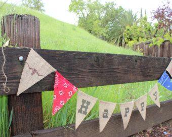 Joyeux anniversaire Western cowboy jute anniversaire bannière-pays bannière Cowboy-parti-pays vintage cowboy chic Bruant-Ouest partybanner