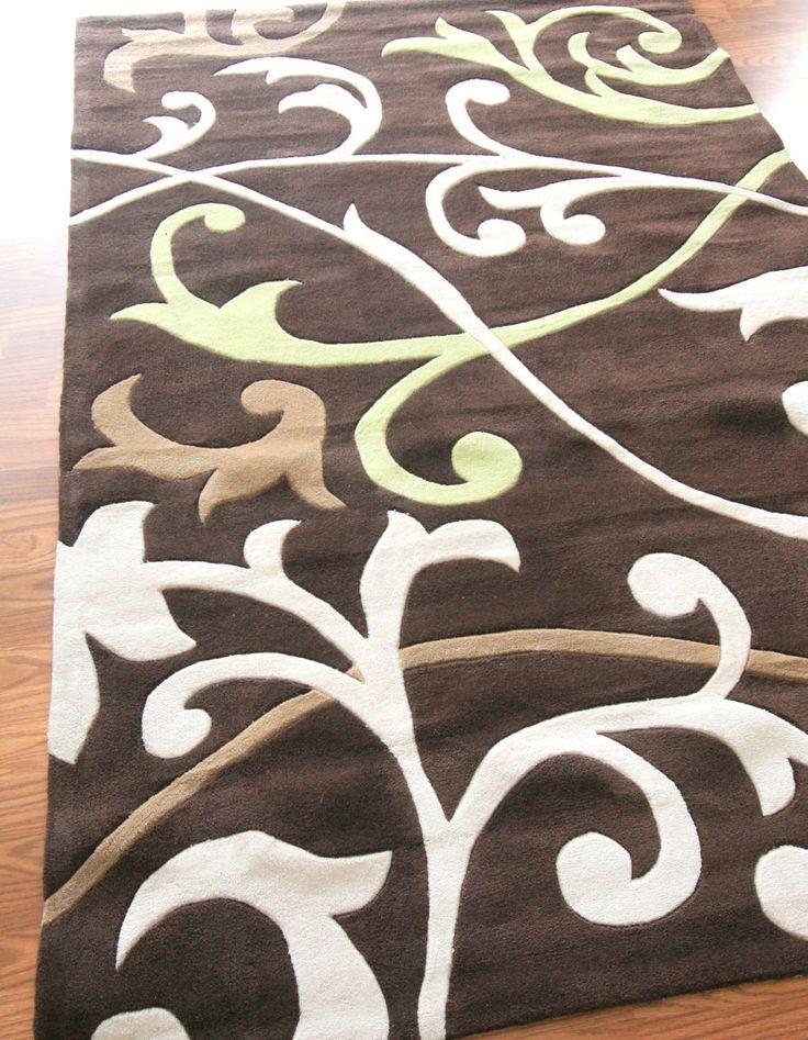 Keno scrolling vines beige rug