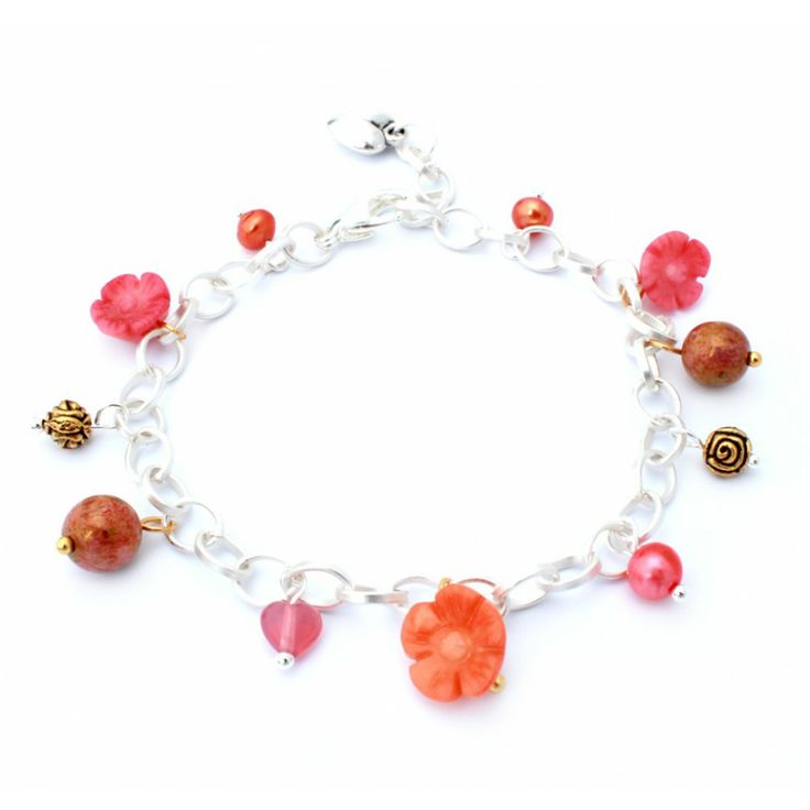 Bedelarmband Capri koraal - #Armbanden #Bracelets - www.Mbijoux.nl
