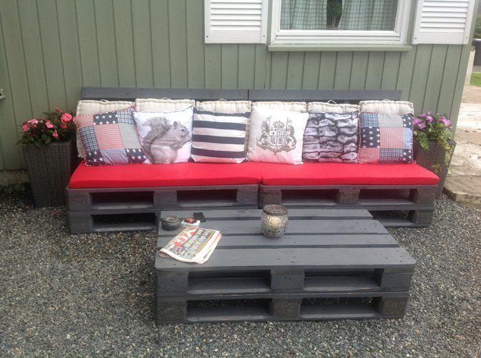 Gartenmöbel aus Paletten Lounge deko tisch Sofa Garten Veranda - loungemobel garten grau
