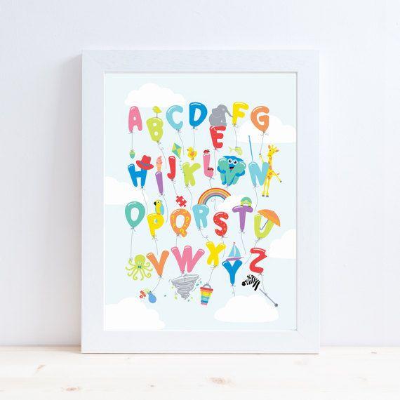 Alphabet Balloons Alphabet Print  Nursery Art Nursery Decor