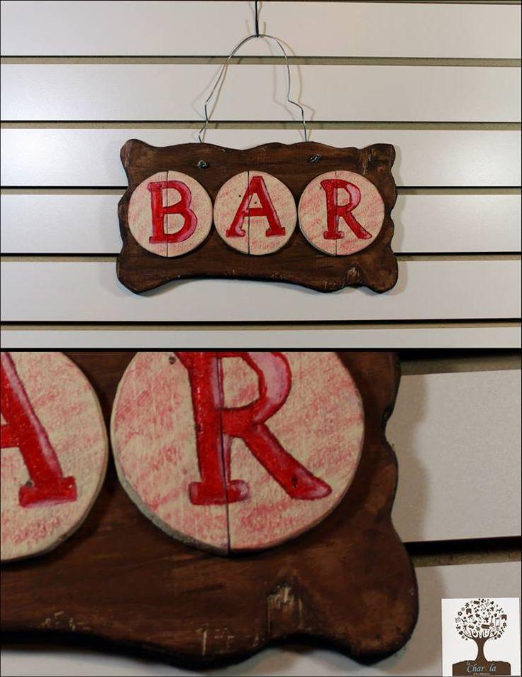 Letrero r stico para bar s hecho todo a mano for Bar hecho en madera