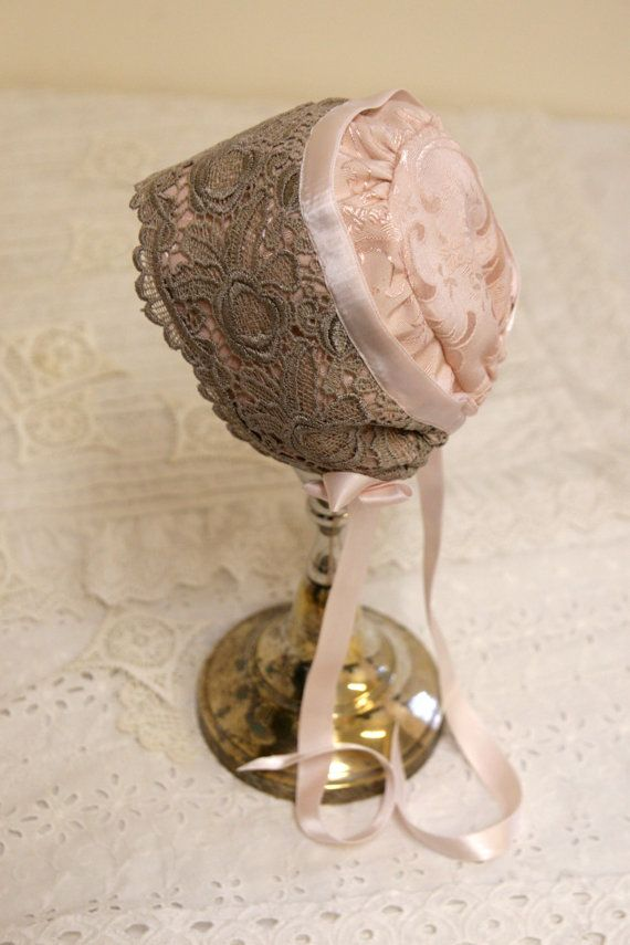 Silk and lace Baby bonnet vintage style baby by StarlitesChild, $32.00