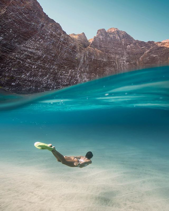 An unforgettable adventure under a favorite coastline. Uploading photos to my website, and happy to liberate a few from square. @chelseakauai graceful as ever underwater.