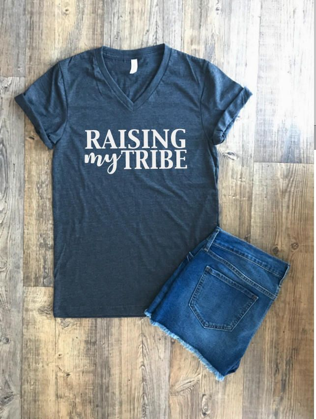 Shirts With Quotes | Raising My Tribe |Printed T Shirts | Womens Graphic Tees | Ladies Shirts | Womens Tshirts | Womens vneck tshirt | by LolaLuVinylDesigns on Etsy