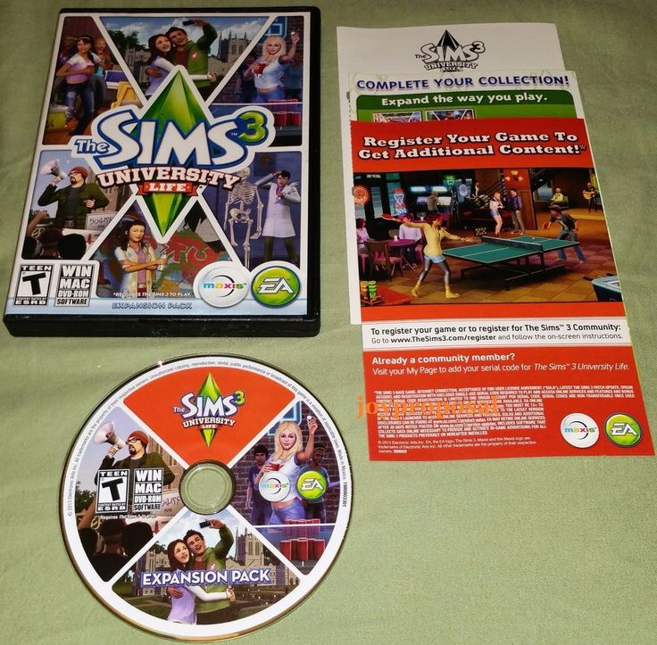 Sims 3: University Life - Expansion Pack (PC/MAC GAMES) Role Playing Add On Sim